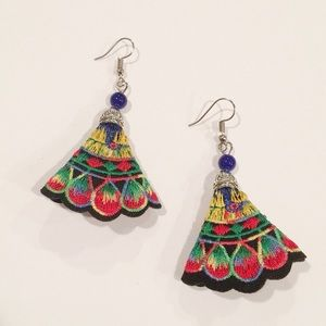 Black Multicolor Embroidered Bell Dangle Earrings